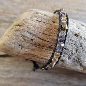 Bracelet  Wrap Toupies Marron Beige et Jaune et perles Bronze sur Cuir Noir