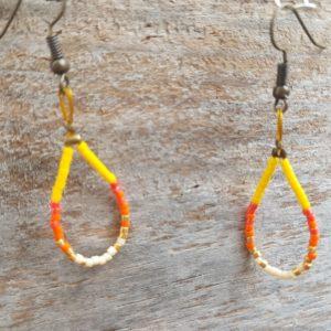 Boucles d'Oreilles Câble simples Miyuki Jaune Orange