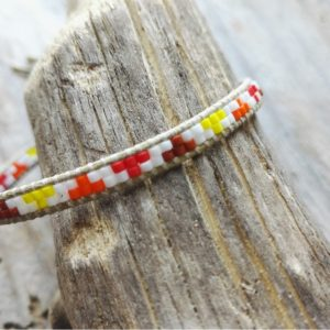 Bracelet wrap multicolor orangé lien de coton ciré beige