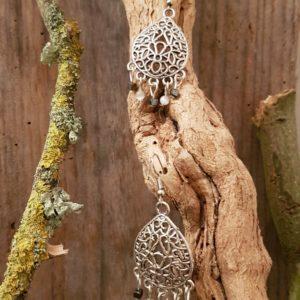 Boucles d'Oreilles Celte Pierres semi précieuses Hématites et Œil de chat