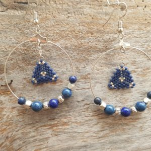 Boucles d'Oreilles Rondes Miyuki Lapis Lazuli