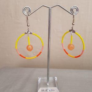Boucles d'Oreilles Rondes Pierres Semi Précieuse Agate Orange