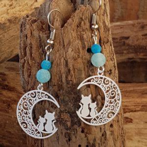 Boucles oreilles Pendantes perles en Agate bleu craquelées – estampe chat blanc