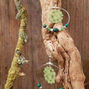 Boucles oreilles Rondes perles en Chrysocolle – estampe fleurs vert
