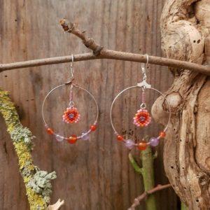 Boucles d'Oreilles Rondes tissage – Sucre d'orge – Orange, Rose, Mauve, et Rouge