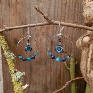 Boucles d'Oreilles Rondes tissage – Camaieu de bleu
