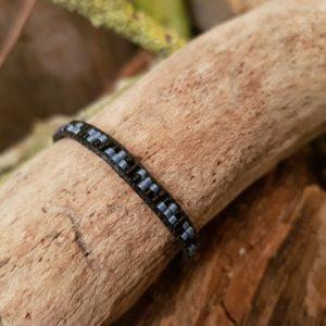 Bracelet wrap Noir et Gris lien de coton ciré noir