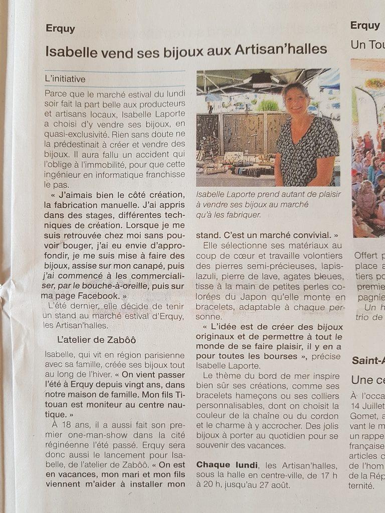 L'Atelier de Zaboo dans le Ouest France !