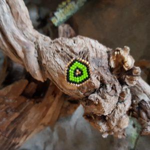 Broche pins tissage écusson – Vert Pomme Noir et Doré – Taille M