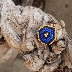 Broche pins tissage écusson – Bleu foncé Noir et Doré – Taille M