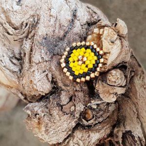 Broche pins tissage écusson – Jaune Noir et Doré – Taille S