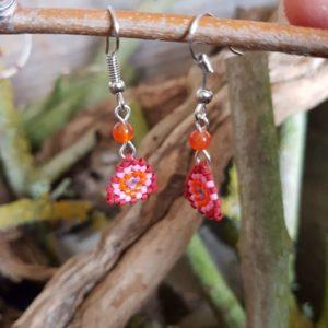 Boucles d'Oreilles Pendantes tissage – Sucre d'orge – Orange, Rose, Mauve, Rouge – Agate Orange – Taille S