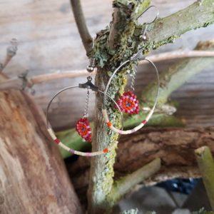 Boucles d'Oreilles Rondes tissage – Sucre d'orge – Orange, Rose, Mauve, Rouge et Beige