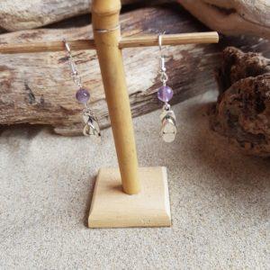 Boucles d'Oreilles pendantes simples – Tong et Améthyste