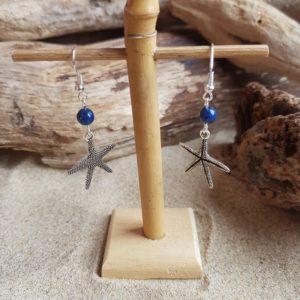 Boucles d'Oreilles pendantes simples – Etoile de mer et Lapis Lazuli