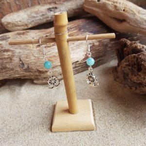 Boucles d'Oreilles pendantes simples – Barre et Amazonite