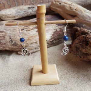 Boucles d'Oreilles pendantes simples – Barre et Lapis Lazuli