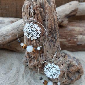 Boucles oreilles Rondes perles en Oeil du Tigre et Indien Agate – estampe fleurs blanc