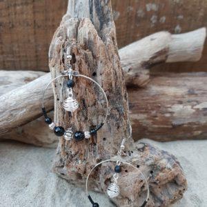 Boucles oreilles Rondes perles en Agate noire  – spirale boule argent