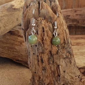 Boucles d'oreilles pendantes simples en Indien Agate (vert clair)