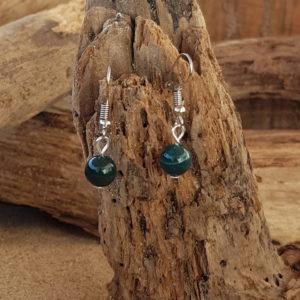 Boucles d'oreilles pendantes simples en Indien Agate (vert foncé)