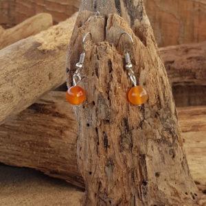 Boucles d'oreilles pendantes simples en agate orange