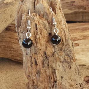 Boucles d'oreilles pendantes simples en agate noire
