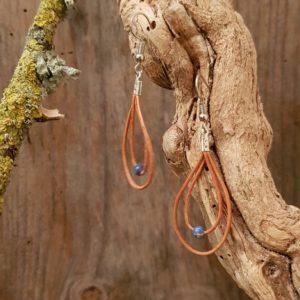 Boucles d'Oreilles Cuir naturel double  Jaspe bleu