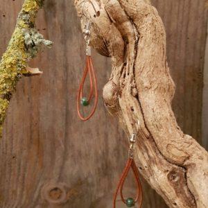 Boucles d'Oreilles Cuir naturel double  Indien Agate – kaki