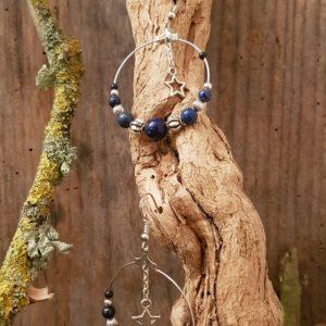 Boucles D'Oreilles Rondes Lapis Lazuli Etoile