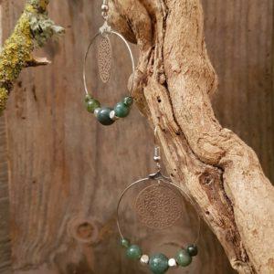 Boucles oreilles Rondes perles en Indien Agate –  estampe fleur taupe