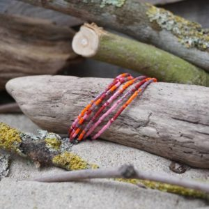 Bracelet simple rang – Lot de 6 – perles Miyuki sur câble fin – Sucre d'orge – Rose Orange Rouge et Mauve