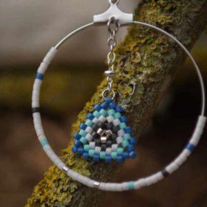 Boucles d'Oreilles Rondes tissage – Lagon – Bleu, vert d'eau , gris foncé et argent