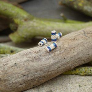 Boutons de manchette Tissage Océan Atlantique – Beige, Bleu foncé et Bleu Roi