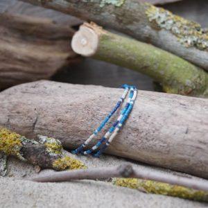 Bracelet simple rang – Lot de 3 – perles Miyuki sur câble fin – Océan Atlantique – Beige, Bleu foncé et Bleu Roi