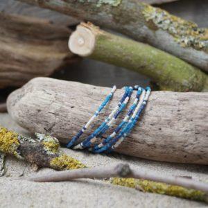 Bracelet simple rang – Lot de 6 – perles Miyuki sur câble fin – Océan Atlantique – Beige, Bleu foncé et Bleu Roi