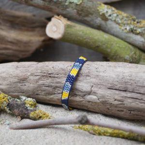 Bracelet tissage plat fin monté wrap fil bleu – Pagolin – zèbre – Bleu marine, gris bleu, jaune et argent- taille S