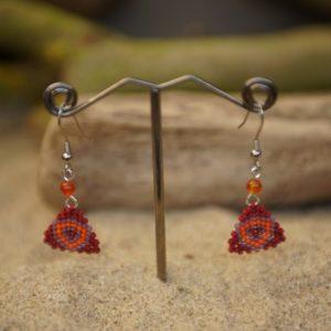 Boucles d'Oreilles Pendantes tissage – Sucre d'orge – Orange, Mauve, Rouge – Agate Orange – Taille S