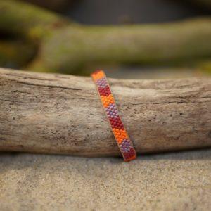Bracelet tissage plat fin monté wrap fil doré – Sucre d'orge – Zèbre –  Rouge, Mauve, et Orange – taille S