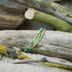 Bracelet simple rang – Lot de 3 – perles Miyuki sur câble fin – Bahia –  Vert, Turquoise, Jaune, et Doré