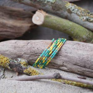 Bracelet simple rang – Lot de 6- perles Miyuki sur câble fin – Bahia –  Vert, Turquoise, Jaune, et Doré