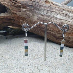 Boucles d'Oreilles Pendantes Perles carrées – Glacier –  Ardoise, Blanc, bronze reflets