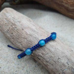 Bracelet Macramé épais  – fil bleu – Agathe Bleue brillante