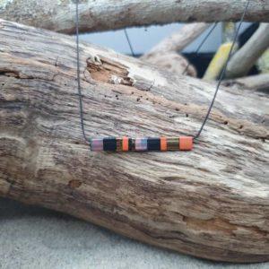 Collier Rectangle – Citrouille – perles carrées – Noir, Rouille, Or, Sunset