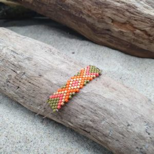 Bracelet  Rectangle – Comanche – zig-zag – mini perles – Orange, Kaki, et Ocre