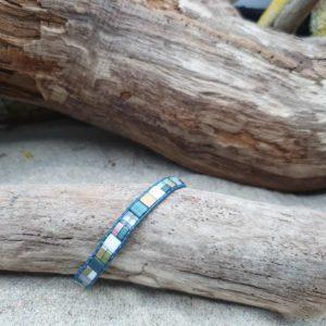 Bracelet  wrap cuir bleu – Glacier – perles carrées –  Ardoise, Blanc, bronze reflets