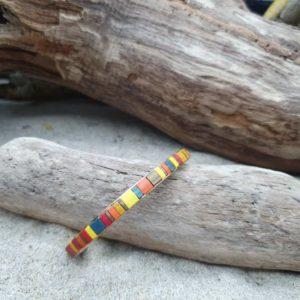 Bracelet  Jonc fin acier doré – perles carrées –  Iroquois Bleu – Bleu, Ocre, jaune, Brique, Bronze, Orange, Rouge