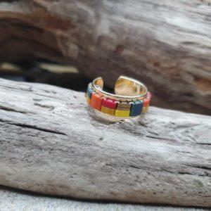 Bague fine perles carrées – Iroquois Bleu – Perles carrées – Bleu, Ocre, Jaune, Brique, Bronze, Orange, Rouge