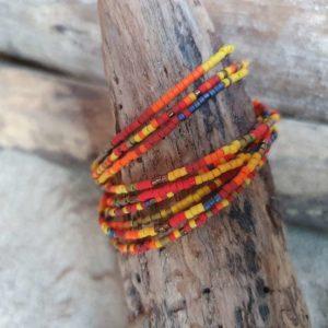Bracelet simple rang – Lot de 9 – minis perles sur câble fin –  Iroquois Bleu et Kaki – Bleu, Kaki, Rouge, Brique, Orange, Ocre, Jaune, Bronze