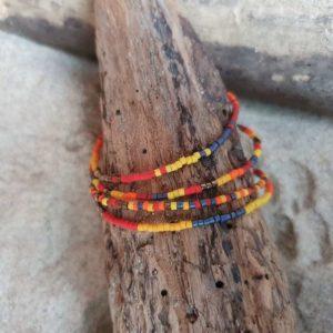 Bracelet simple rang – Lot de 4 – minis perles sur câble fin –  Iroquois Bleu – Bleu, Rouge, Brique, Orange, Ocre, Jaune, Bronze